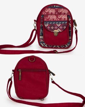 کیف دوشی اسپرت طرحدار قرمز - زرشکی - جلو و پشت