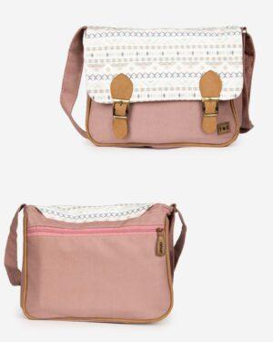 کیف دوشی بزرگ طرحدار زنانه - صورتی کثیف - جلو و پشت کیف