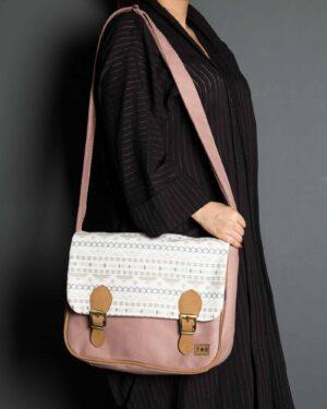 کیف دوشی بزرگ طرحدار زنانه - صورتی کثیف - محیطی