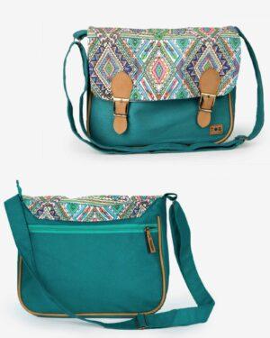 کیف دوشی بزرگ طرح سنتی - سبزآبی تیره - جلو و پشت کیف