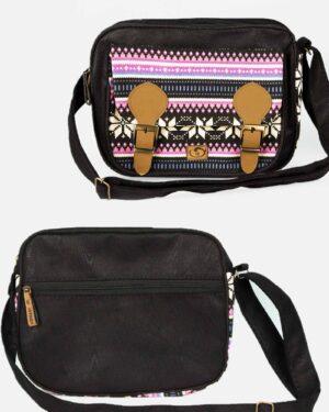کیف دوشی بزرگ مشکی صورتی - مشکی - جلو و پشت