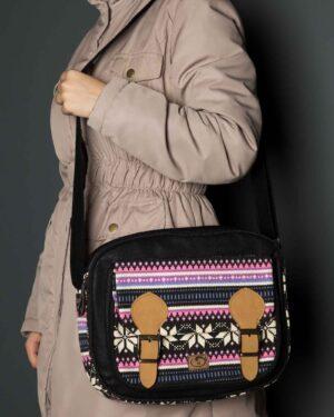 کیف دوشی بزرگ مشکی صورتی - مشکی - دخترانه