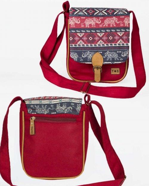 کیف دوشی دخترانه طرح فیل - زرشکی - جلو و پشت