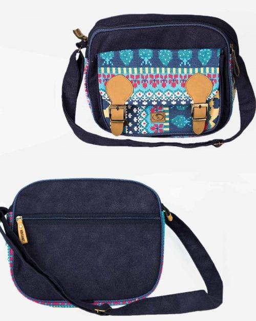 کیف دوشی دو دکمه آبی - سرمهای - جلو و پشت