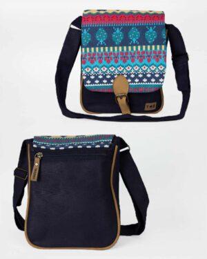 کیف دوشی زنانه طرحدار سرمهای - جلو و پشت