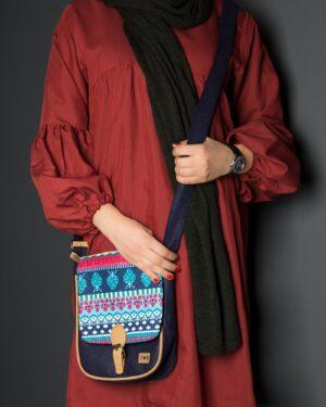 کیف دوشی زنانه طرحدار سرمهای - دخترانه