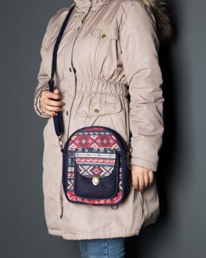 کیف دوشی سرمه ای قرمز - سرمهای - زنانه