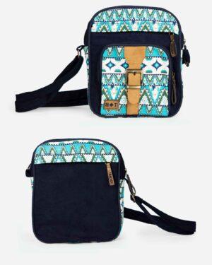 کیف دوشی طرحدار آبی - آبی - جلو و پشت