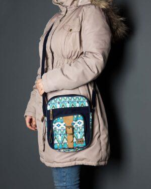 کیف دوشی طرحدار آبی - سرمهای - زنانه