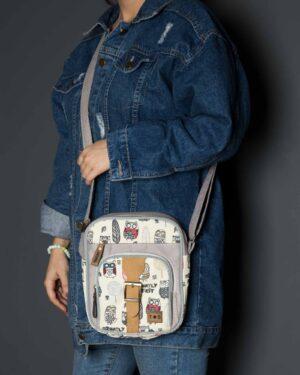 کیف دوشی طرحدار طوسی - طوسی - دخترانه