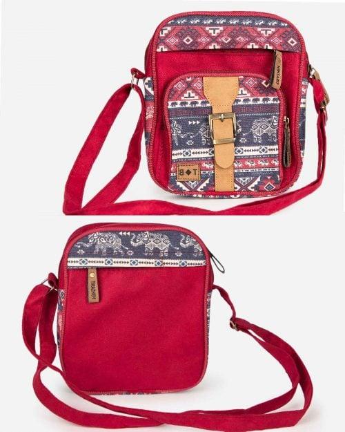 کیف دوشی طرحدار قرمز - زرشکی - جلو و پشت