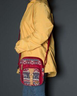 کیف دوشی طرحدار قرمز - زرشکی - زنانه