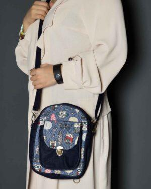کیف دوشی طرحدار دخترانه - آبی کاربنی - زنانه