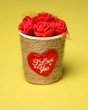 گیفت سبد گل رز - قرمز - شش غنچه گل