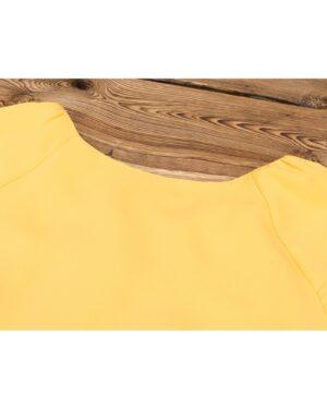 بلوز زنانه یقه گرد-زرد-بالا