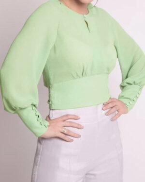 بلوز زنانه یقه گرد سبز-پاستیلی-بغل-محیطی