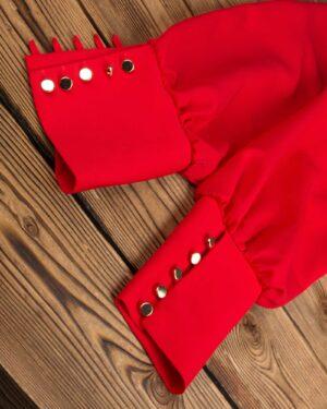 بلوز زنانه یقه گرد-قرمز-آستین