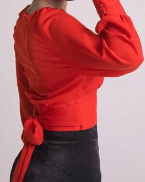 بلوز زنانه یقه گرد قرمز-بغل-محیطی