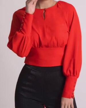 بلوز زنانه یقه گرد قرمز-روبه-رو-محیطی