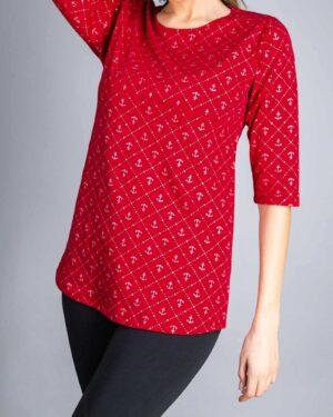 تونیک زنانه یقه گرد طرحدار-قرمز - دخترانه-روبه-رو