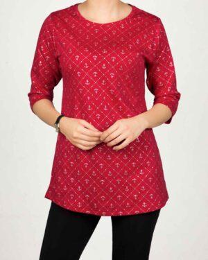تونیک زنانه یقه گرد طرحدار - قرمز - رو به رو