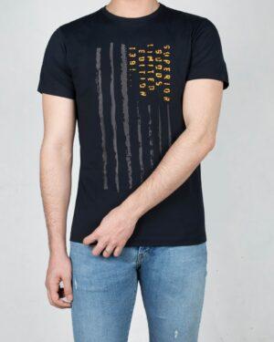 تیشرت آستین کوتاه مردانه طرحدار-سرمه ای تیره-رو به رو