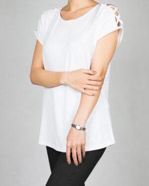 تیشرت دخترانه سرشانه ضربدری - سفید - زنانه