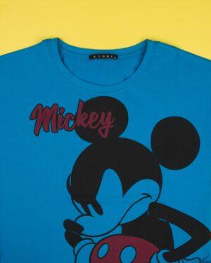 تیشرت دخترانه طرح میکی ماوس - آبی - یقه گرد
