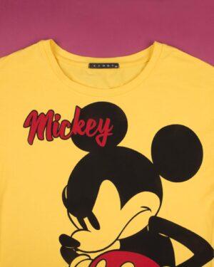 تیشرت دخترانه طرح میکی ماوس - زرد - یقه گرد