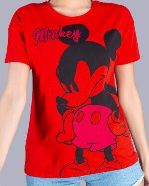 تیشرت دخترانه طرح میکی ماوس - قرمز - رو-به-رو
