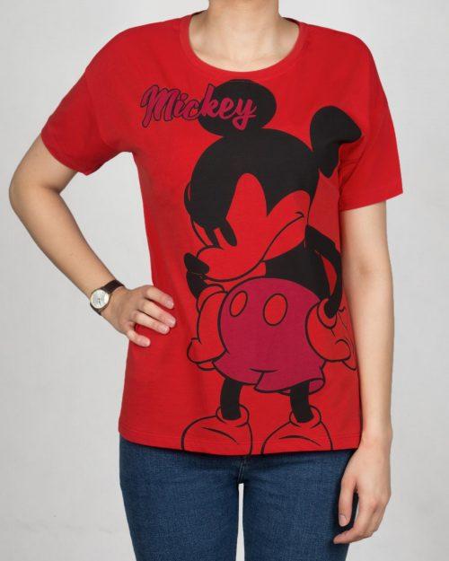 تیشرت دخترانه طرح میکی ماوس - قرمز - رو به رو