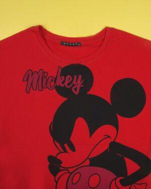 تیشرت دخترانه طرح میکی ماوس - قرمز - یقه گرد