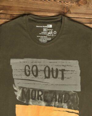 تیشرت مردانه طرح نوشته - زیتونی - یقه گرد آستین کوتاه