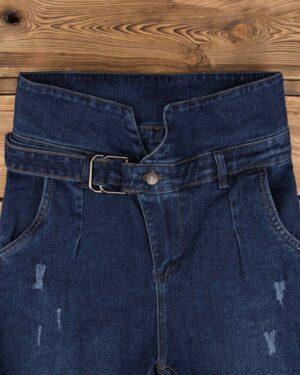 شلوار جین دخترانه بند دار-آبی تیره-بالا