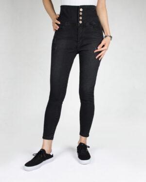 شلوار جین دخترانه مشکی-دودی تیره-روبه-رو- محیطی