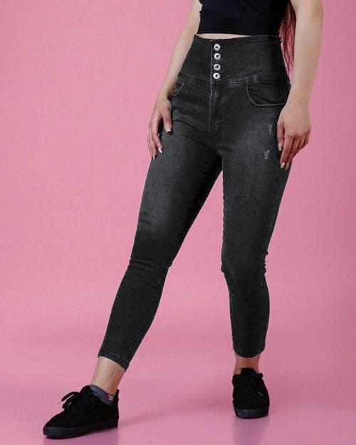 شلوار جین دخترانه مشکی-دودی تیره-روبه رو