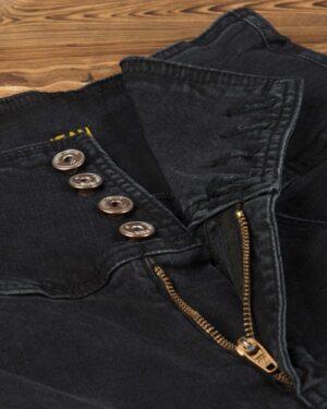 شلوار جین دخترانه مشکی-دودی تیره-زیپ-دکمه