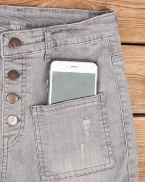 شلوار جین زنانه خاکستری-طوسی-جیب و دکمه
