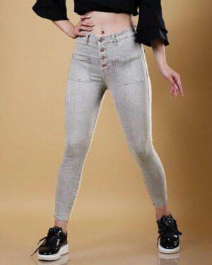 شلوار جین زنانه خاکستری-طوسی-محیطی