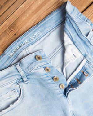 شلوار جین مردانه آبی آسمانی - آبی آسمانی - دکمه