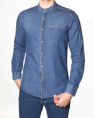 پیراهن جین آستین بلند مردانه - آبی تیره - رو به رو