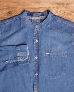 پیراهن جین آستین بلند مردانه - آبی تیره - یقه دیپلمات