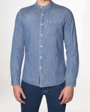 پیراهن جین آستین بلند مردانه - آبی - رو به رو