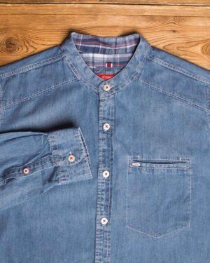 پیراهن جین آستین بلند مردانه - آبی - یقه دیپلمات