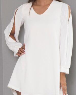 پیراهن مجلسی یقه هفت زنانه-سفید-روبه-رو-محیطی