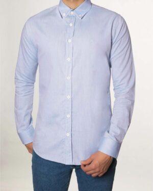 پیراهن مردانه نخی - آبی آسمانی - رو به رو