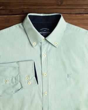پیراهن مردانه نخی - آبی یخی - آستین بلند