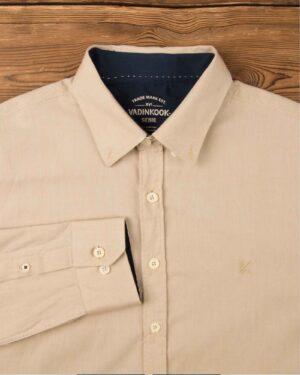 پیراهن مردانه نخی - بژ - آستین بلند