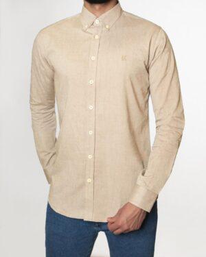 پیراهن مردانه نخی - بژ - رو به رو
