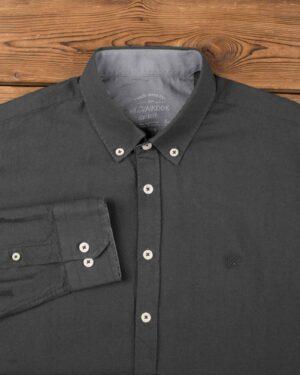 پیراهن مردانه نخی - دودی - آستین بلند